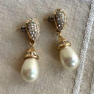 Vintage Christian Dior faux pearl drop & crystals